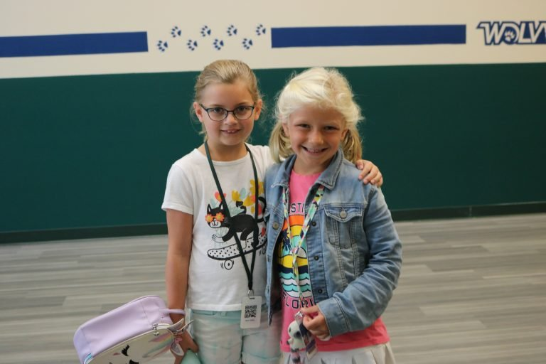 two elementary students in hallway - 2021-2022